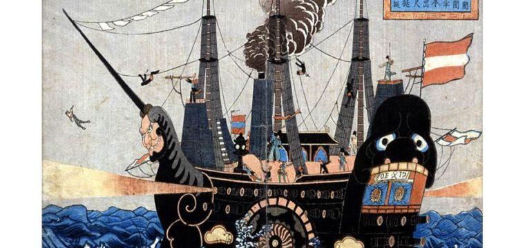 The forced opening of Japan in the 1850s by the US Navy's Commodore Perry